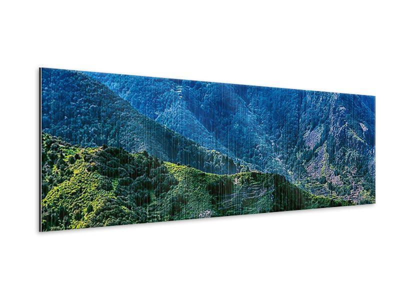 Metallic-Bild Panorama Die Berglandschaft