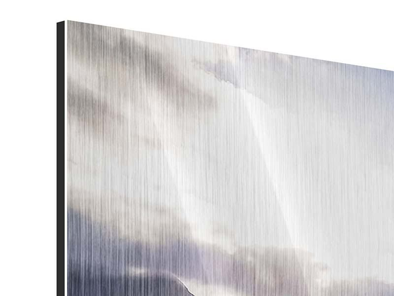 Metallic-Bild Panorama Der Frühling in den Bergen