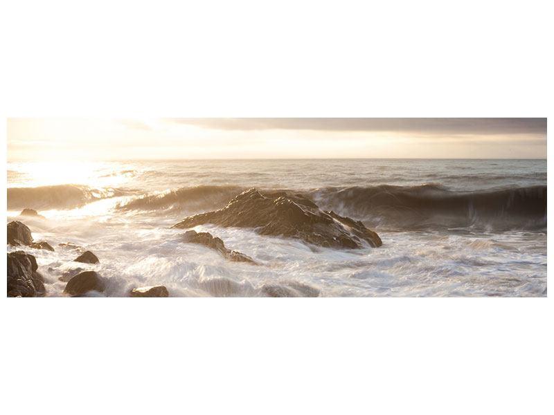 Metallic-Bild Panorama Meeresbrandung