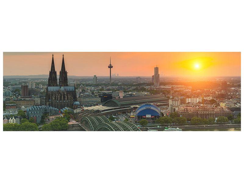 Metallic-Bild Panorama Skyline Köln bei Sonnenuntergang