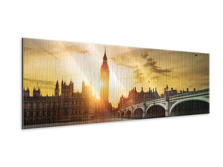 Metallic-Bild Panorama Skyline Big Ben im Sonnenuntergang