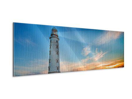 Metallic-Bild Panorama Sonnenuntergang am Leuchtturm