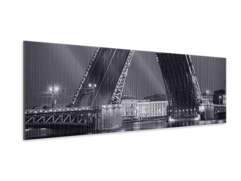 Metallic-Bild Panorama Klappbrücke bei Nacht