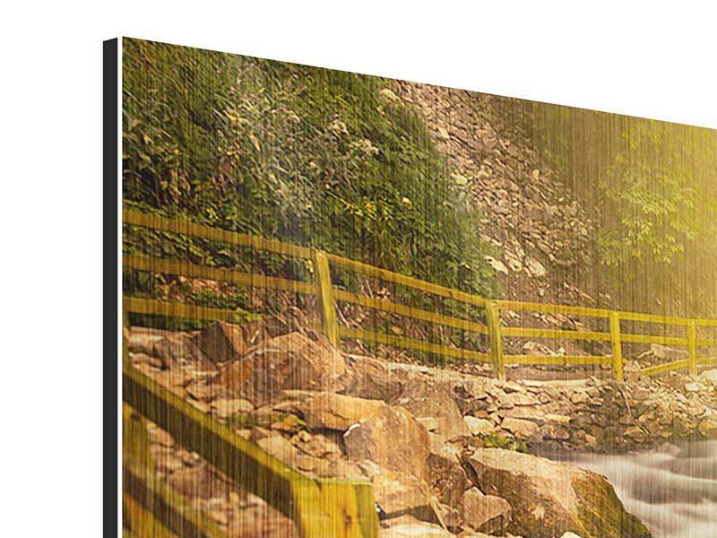 Metallic-Bild Panorama Sonnenuntergang am Wasserfall