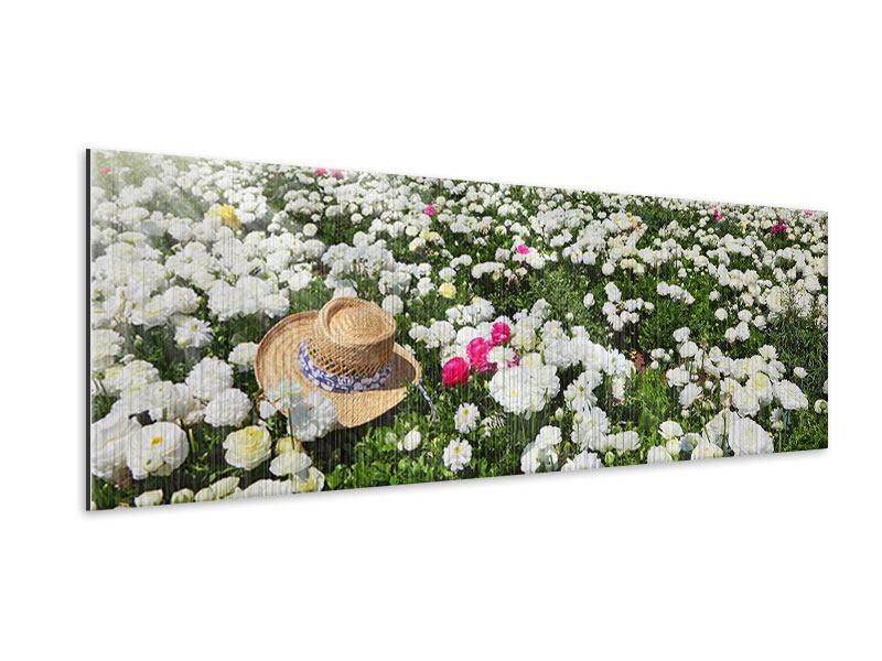 Metallic-Bild Panorama Die Frühlingsblumenwiese