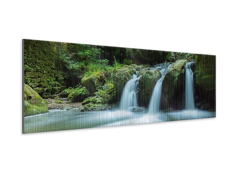 Panoramic Metallic Print Falling Water in the Wood