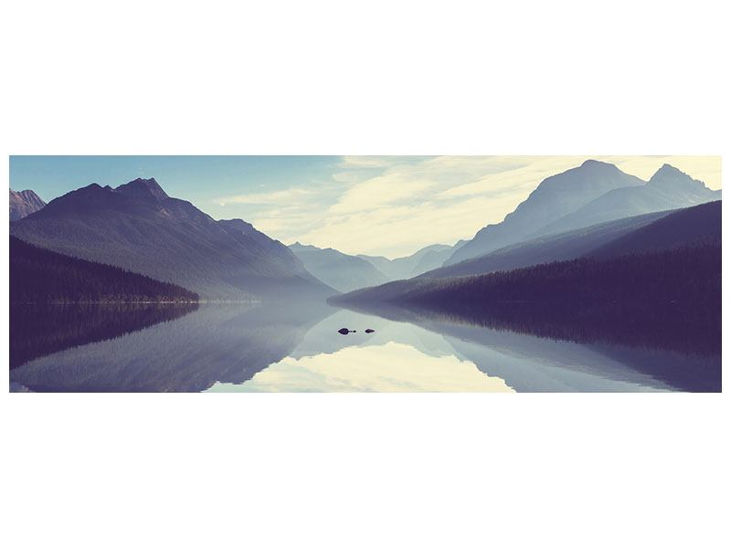 Metallic-Bild Panorama Bergspiegelung