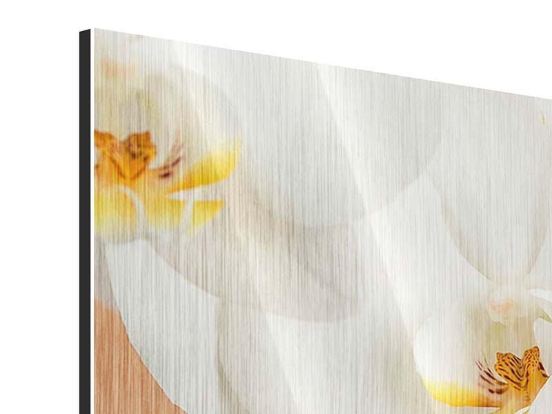 Metallic-Bild Panorama Weisse Orchideenblüten