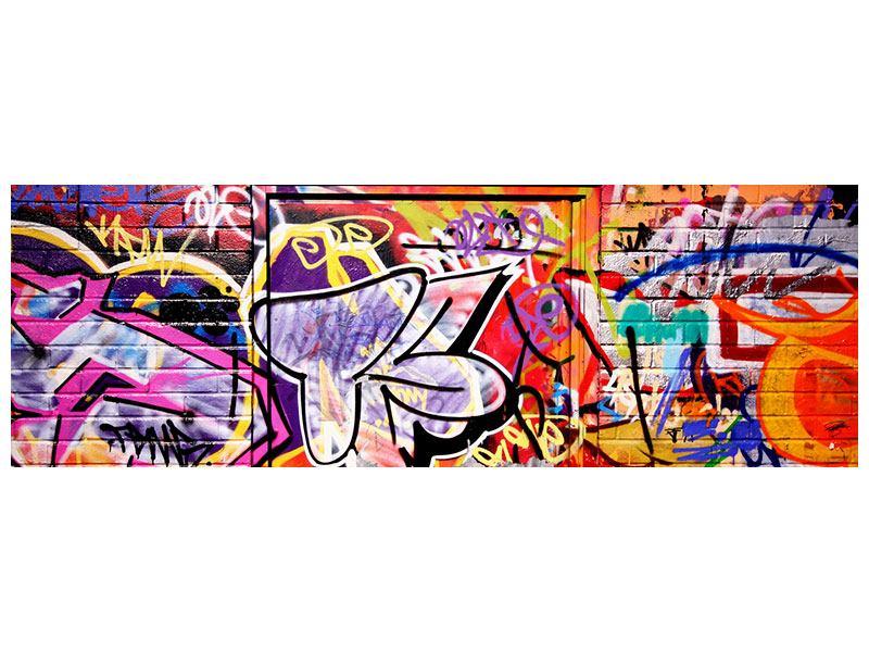 Metallic-Bild Panorama Graffiti Kunst