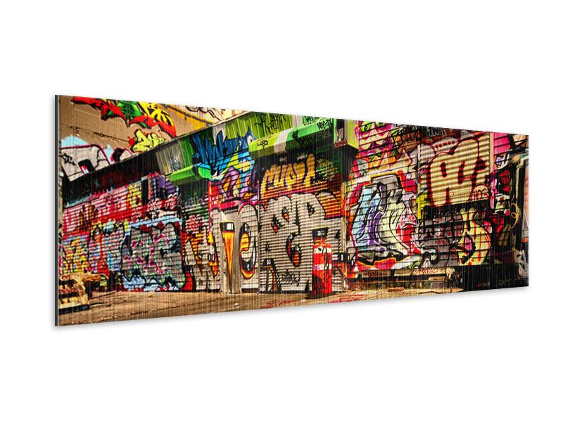 Metallic-Bild Panorama NY Graffiti