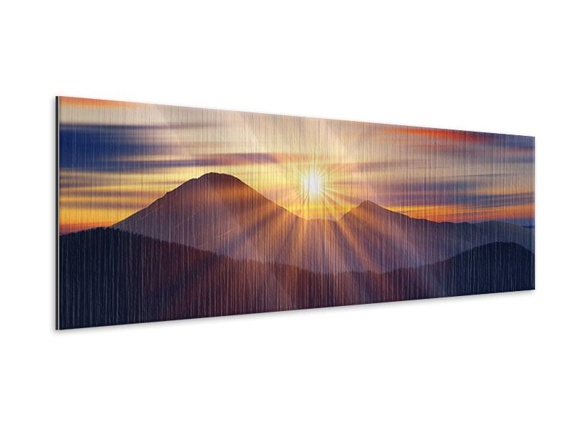 Metallic-Bild Panorama Märchenhafte Landschaft