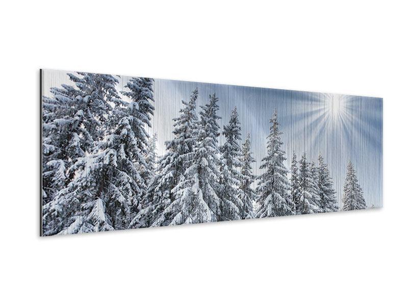 Metallic-Bild Panorama Wintertannen