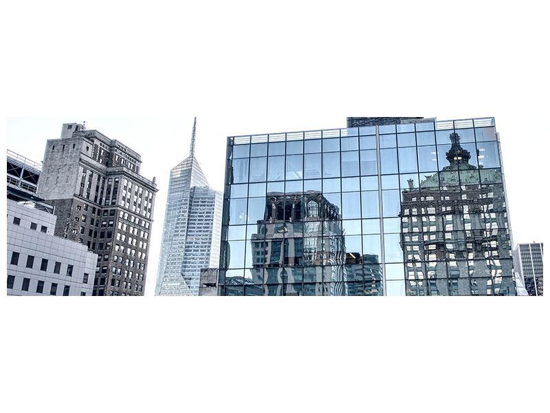 Metallic-Bild Panorama Wolkenkratzer NYC