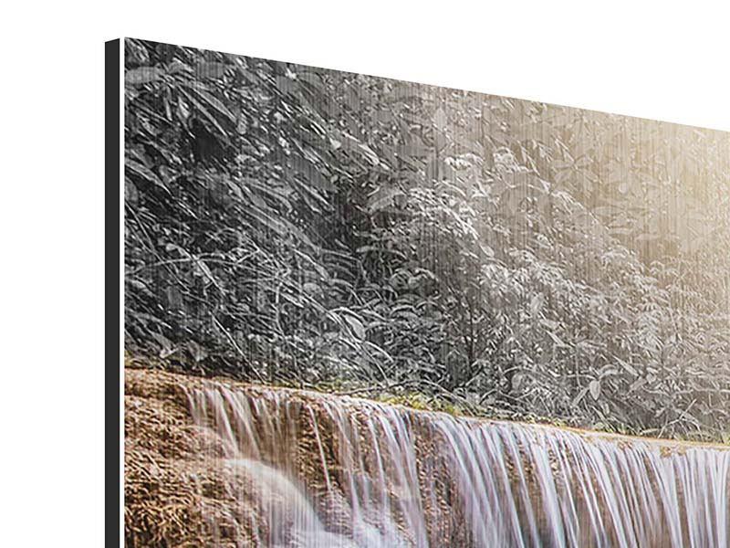 Metallic-Bild Panorama Glücklicher Wasserfall
