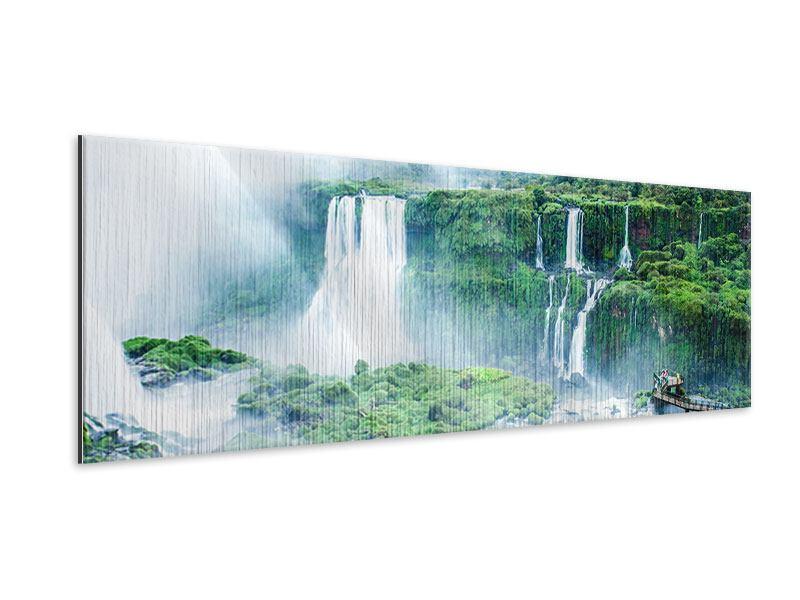 Metallic-Bild Panorama Wasserfälle