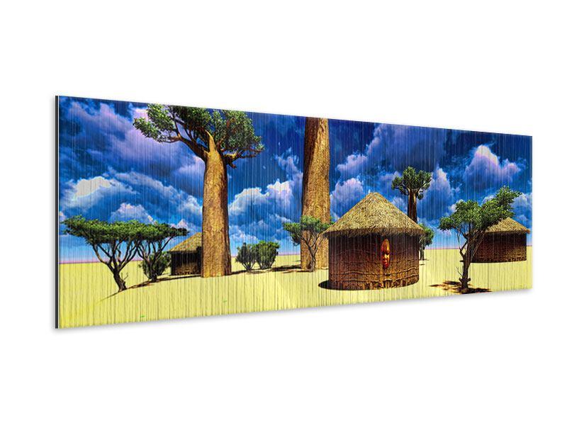 Metallic-Bild Panorama Ein Dorf in Afrika