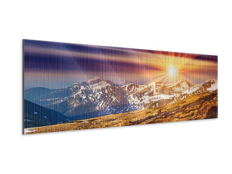 Metallic-Bild Panorama Majestätischer Sonnuntergang am Berggipfel