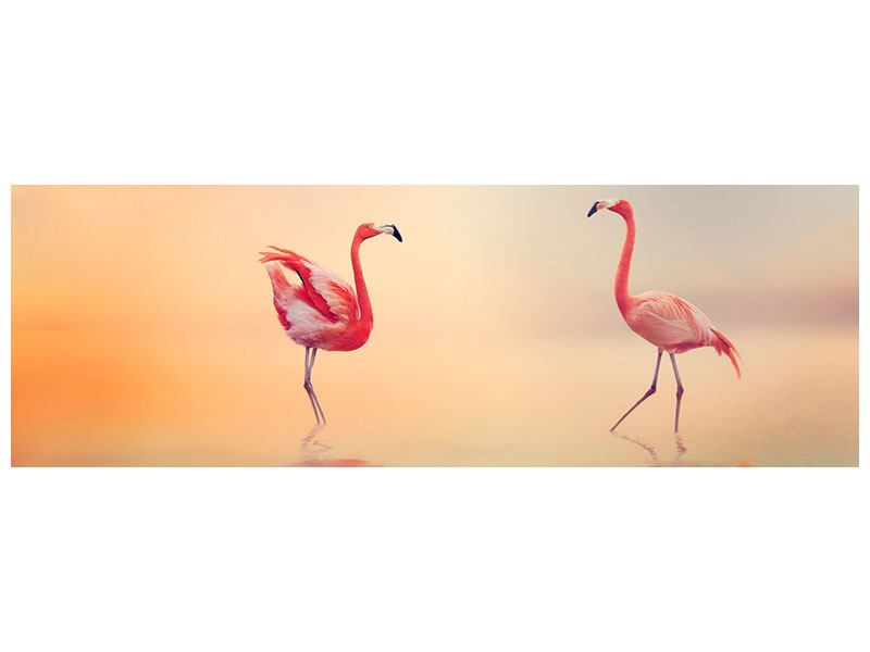 Metallic-Bild Panorama Romantische Flamingos
