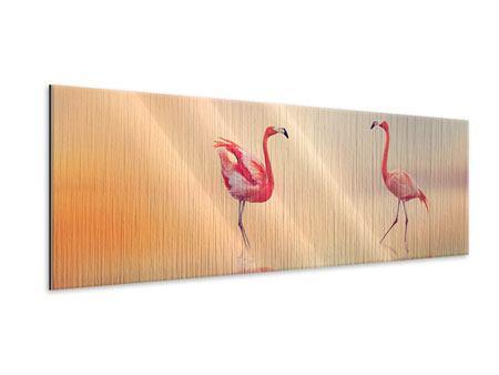 Metallic-Bild Panorama Romantische Flamingos