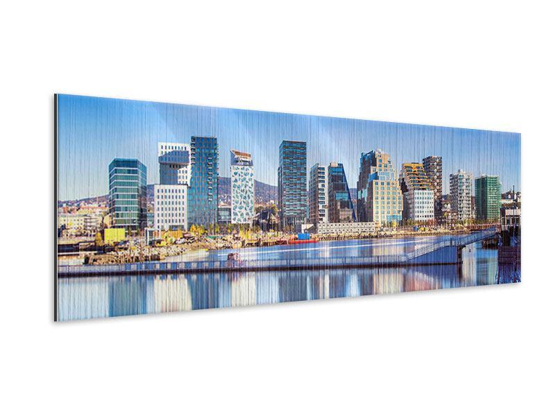 Metallic-Bild Panorama Skyline Oslo