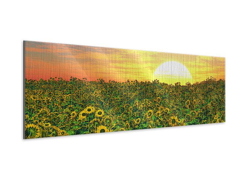 Metallic-Bild Panorama Blumenpanorama bei Sonnenuntergang