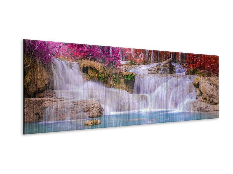Metallic-Bild Panorama Paradiesischer Wasserfall