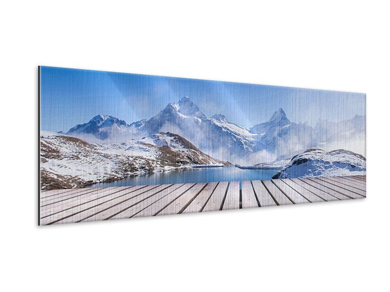 Metallic-Bild Panorama Sonnenterrasse am Schweizer Bergsee