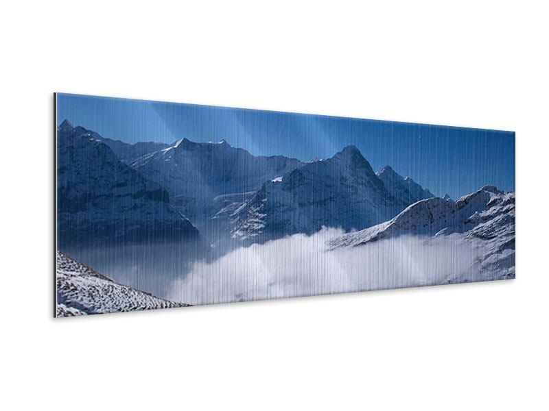 Metallic-Bild Panorama Sonnenterrasse in den Schweizer Alpen