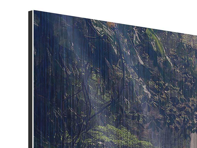 Metallic-Bild Panorama Wasserfall in Mexiko