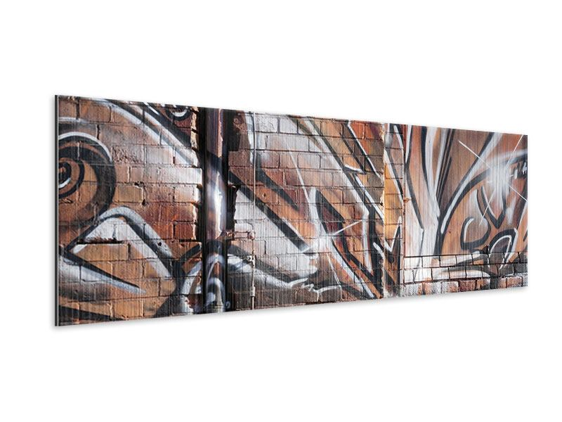 Metallic-Bild Panorama Graffiti Mauer
