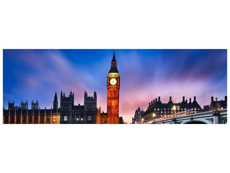Metallic-Bild Panorama Nachts am Big Ben
