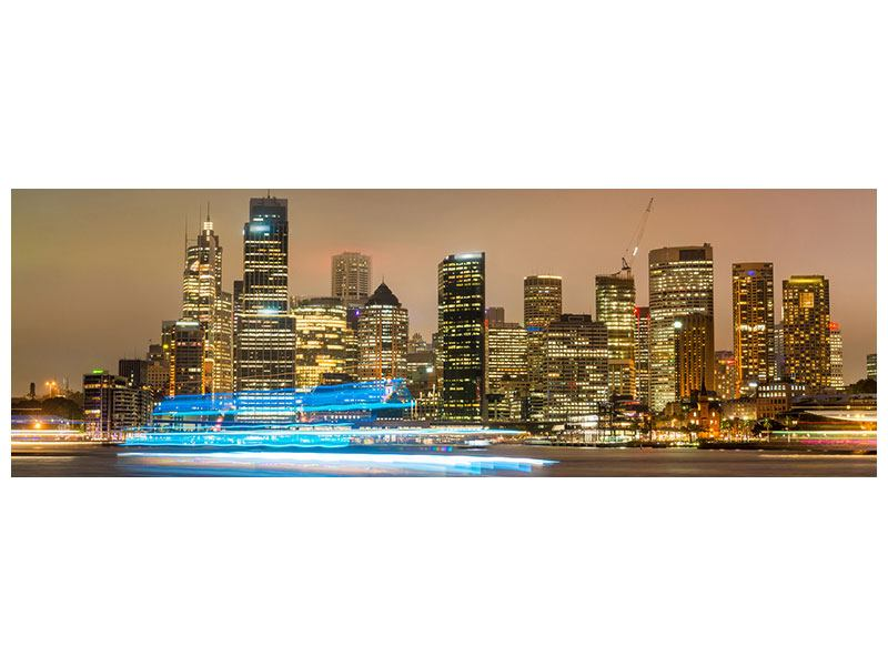 Metallic-Bild Panorama Skyline Sydney im Lichtermeer