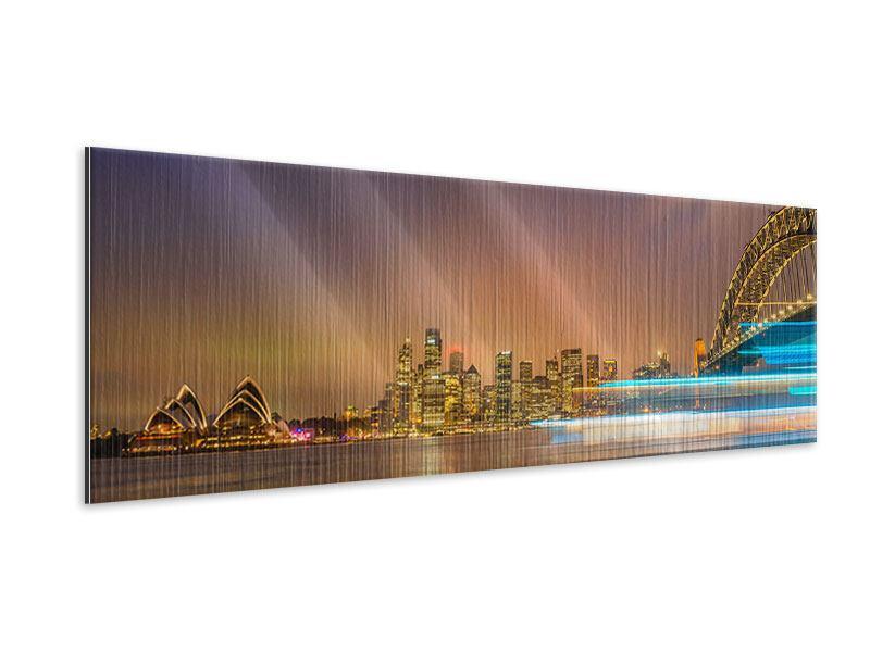 Metallic-Bild Panorama Skyline Opera House in Sydney im Abendlicht