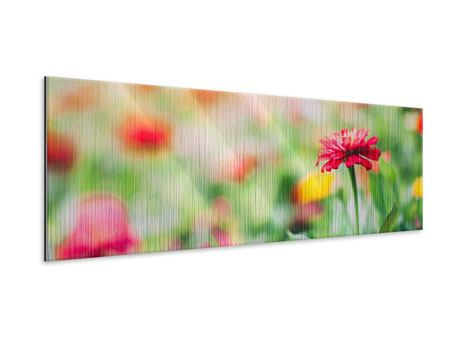 Metallic-Bild Panorama Im Blumengarten