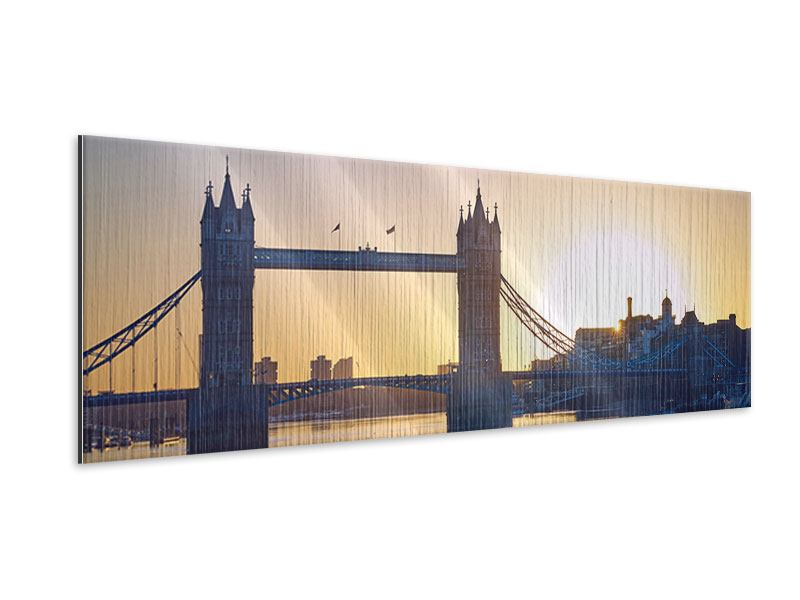 Metallic-Bild Panorama Tower Bridge bei Sonnenuntergang
