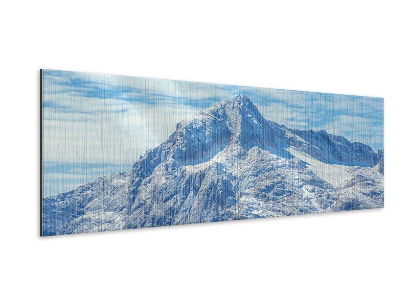 Metallic-Bild Panorama Friedliche Bergstimmung