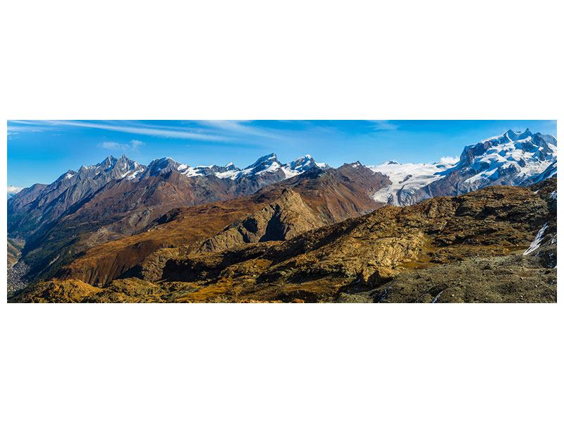 Metallic-Bild Panorama Schweizer Alpen im Frühling