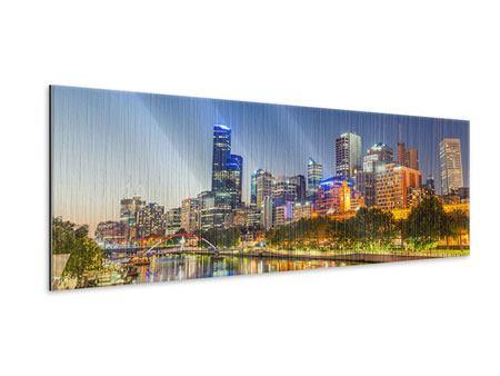 Metallic-Bild Panorama Skyline Sydney in der Abenddämmerung