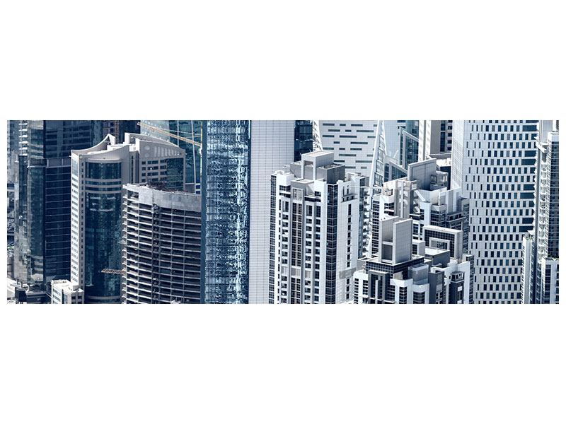Metallic-Bild Panorama Die Wolkenkratzer von Dubai