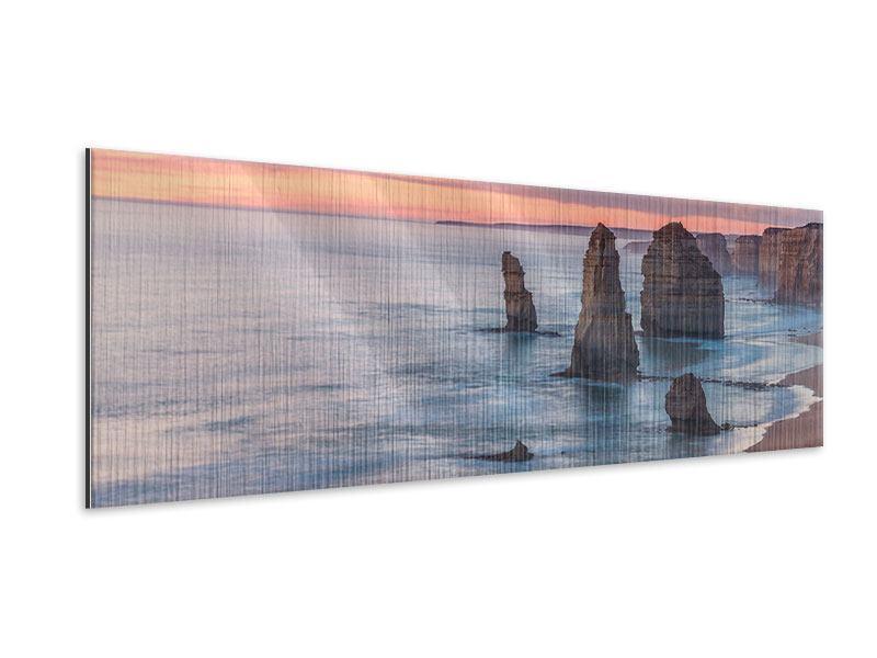 Metallic-Bild Panorama Felsen in der Brandung