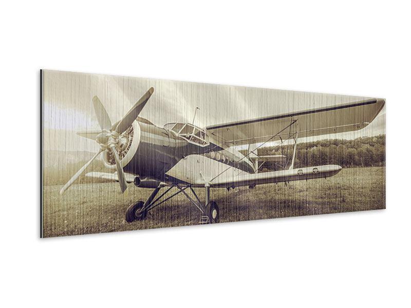 Metallic-Bild Panorama Nostalgisches Flugzeug im Retrostyle