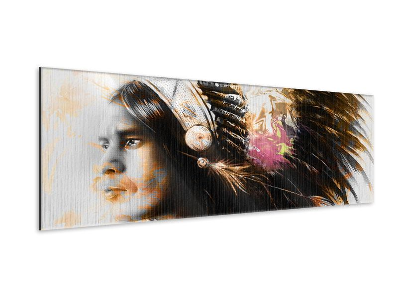 Metallic-Bild Panorama Kunstvolles Indianer-Portrait