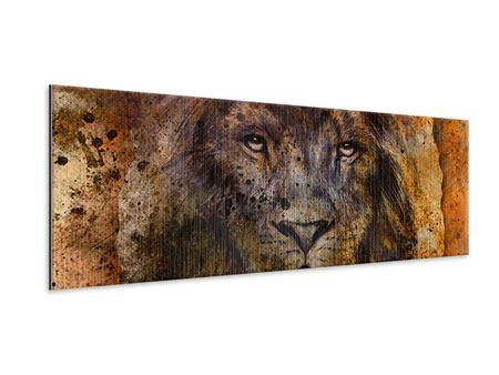 Metallic-Bild Panorama Portrait eines Löwen