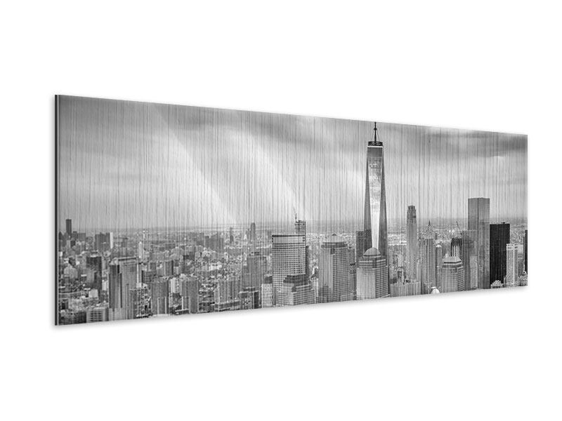 Metallic-Bild Panorama Skyline Schwarzweissfotografie New York