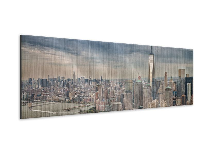Metallic-Bild Panorama Skyline Manhattan