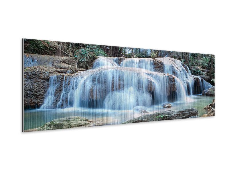 Metallic-Bild Panorama Ein Wasserfall