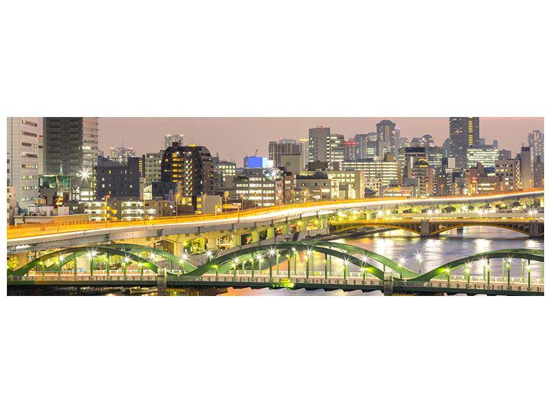 Metallic-Bild Panorama Skyline Das Lichtermeer von Tokio