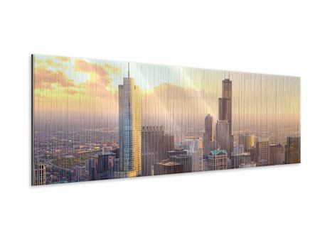 Metallic-Bild Panorama Skyline Chicago