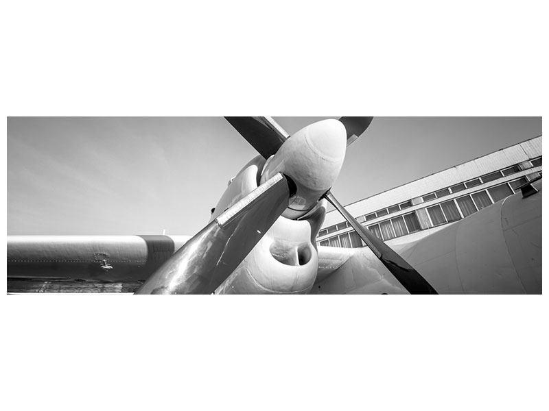Metallic-Bild Panorama Nostalgisches Flugzeug