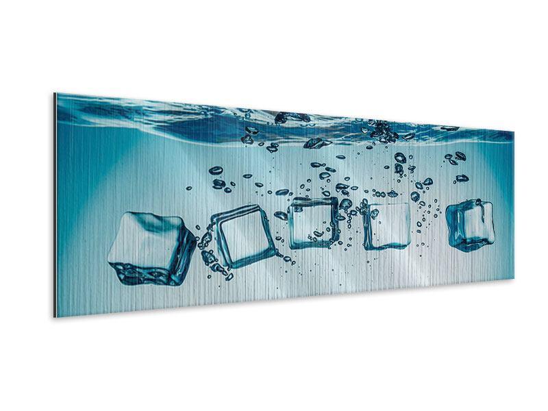 Metallic-Bild Panorama Eiswürfel-Quadro